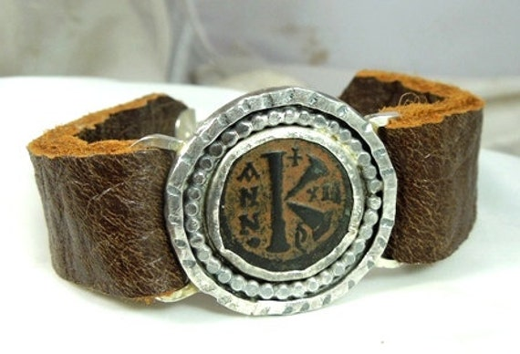 Reserved for Sue Byzantine Coin Bracelet sterling silver, leather, unisex, mens jewelry