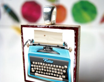 Scrabble tile pendant, Teal Typewriter, Scrabble piece charm/Scrabble tile jewelry necklace