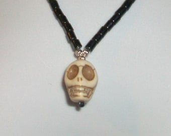 Hematite Cream Skull Necklace