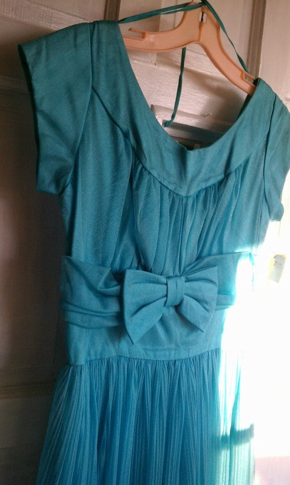 Vintage 1960's Evening Dress Turquoise never worn tags still on   size 15-16