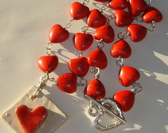 hearts of love galore handmade wire wrapped necklace with ceramic pendant ooak by Ziporgiabella