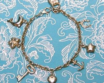 SALE: Vintage Sterling Charm Bracelet & 8 Sterling Charms, Ships FREE!
