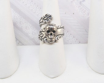 Spoon Ring - Silver Skull SPOON Ring - Silver Skull Ring - Skeleton ORIGINAL DESIGN by BirdzNbeez- Birthday Friendship