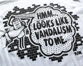 Hmm... Looks like vandalism to me T-shirt, White, size L
