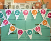 HAPPY BIRTHDAY PARTY banner Large eco friendly reusable colorful decorative bunting