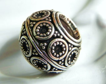 1  Bali Sterling Silver Big Hole Spacer Bead  5mm hole -