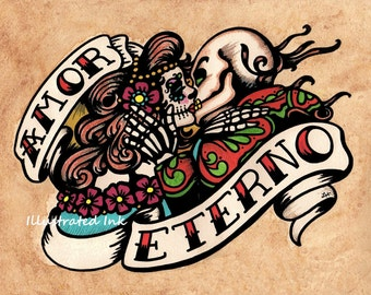 Dia de los Muertos AMOR ETERNO Day of the Dead Art Print 8 x 10 or 11 x 14