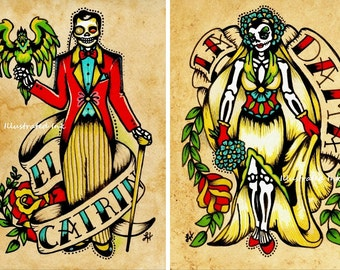 Day of the Dead Couple Art Prints Loteria La DAMA & El CATRIN 5 x 7, 8 x 10 or 11 x 14 Set