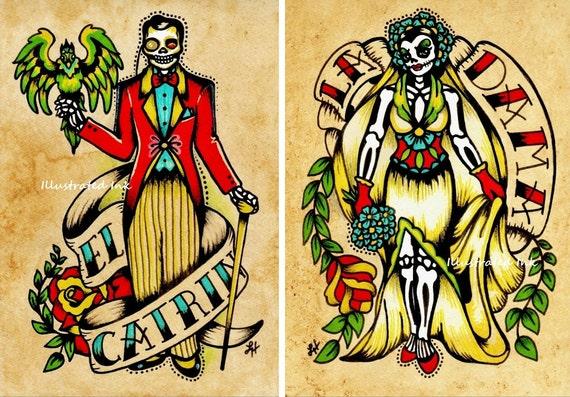 Day of the Dead Couple Art Prints Loteria La DAMA & El CATRIN 5 x 7, 8 x 10 or 11 x 14 Set