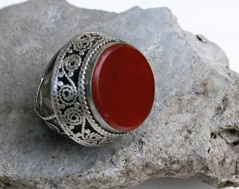 Vintage Tribal Ring- Ghazni Afghanistan Carnelian, Size 10