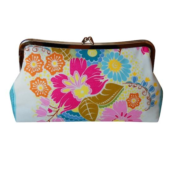 Flower purse floral clutch purse Summer purse by jenniferladd