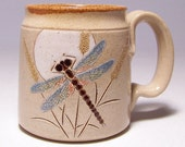 Dragonfly and Moon Pottery Coffee Mug Limited Series 142 (microwave safe) 12oz