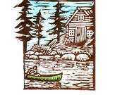 Hand Printed Linoleum Wood Block Canoe and Cabin