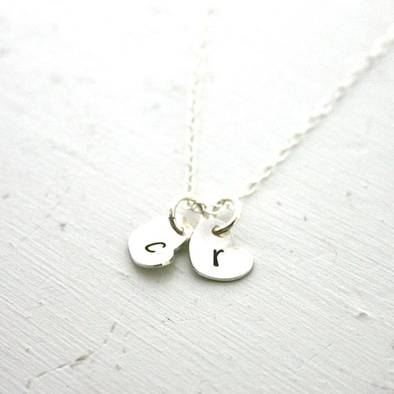 Personalized necklace - TWO tiny heart charms initial necklace