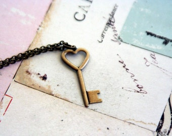 heart key. necklace. in brass ox jewelry
