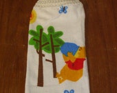 Winnie The Pooh And Honey Pot Hand Towel With White Crocheted Top