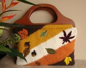 Felted bag with Wood Handles and Needle Felted  Autumn Leaves