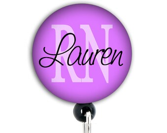 Retractable ID Badge Holder  - Personalized Purple -  RN, OT, and other abbreviations