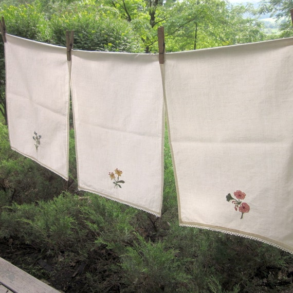 Three Vintage Embroidered Hand Towels - CLEARANCE