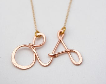 LA Los Angeles rose gold filled custom city love necklace