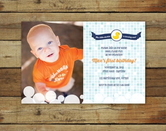 rubber duck birthday party invitation - modern rubber ducky invitation - printable rubber ducky invite