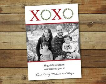 XOXO Christmas card with wreaths, photo holiday card
