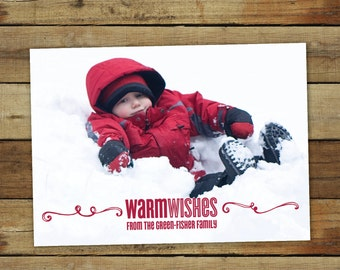 Warm wishes Christmas card, photo holiday card, Beach Christmas card or Christmas card with snowy pictures