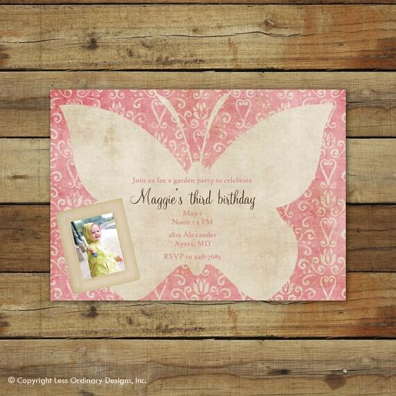 butterfly birthday invitation, garden party invitation, butterfly birthday party, custom invitation