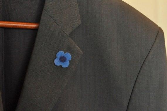 Blue Phase Wool Felt Flower Lapel Pin Boutonniere