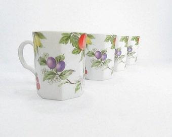 Vintage Mugs, Coffee Mugs, Tea Cups, Fruit and Flowers Mugs, Kitchen Decor