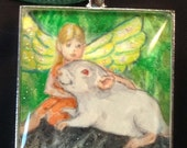 Fairy & Baby Rattie Fantasy Pendant (or Key Ring) Wearable Art for the Rat Lover