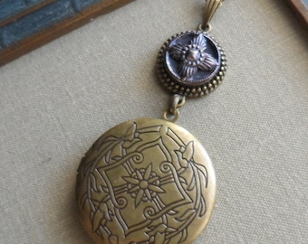 Antique Button with Ornate Locket Necklace- Four Corners