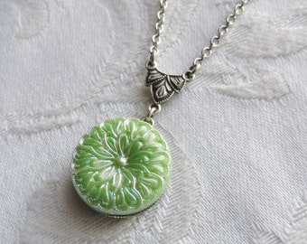 Lime Green Blossom, Vintage German Glass Button Necklace