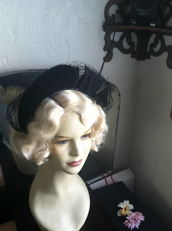 Lovely Mid 1940s Halo Hat Gorgeous Velvet And Net