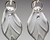 Glass Clear Leaf Earrings