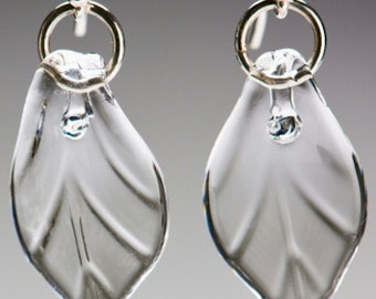Glass Clear Leaf Earrings