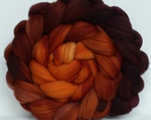Hand Dyed roving for spinning or felting Ginger and Plum 3.5ozs Pre-Order