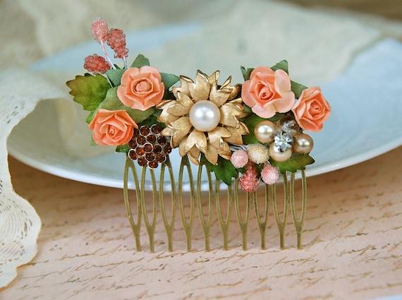 Autumn gatherings. vintage floral hair comb. tiedupmemories