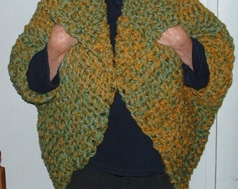Chunky knit wrap jacket or three quarter coat handmade large extra large plus chunky stitch for men or women