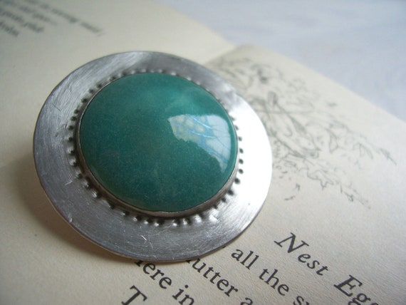Blue Ceramic Shield vintage brooch - on silver arts and crafts style - 1950s