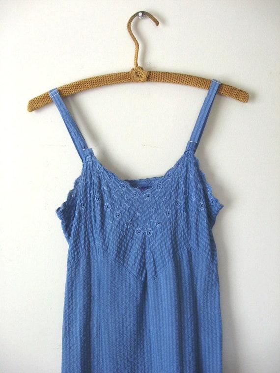 Vintage Hydrangea Blue Slip Dress Striped Cotton Embroidered Eyelet