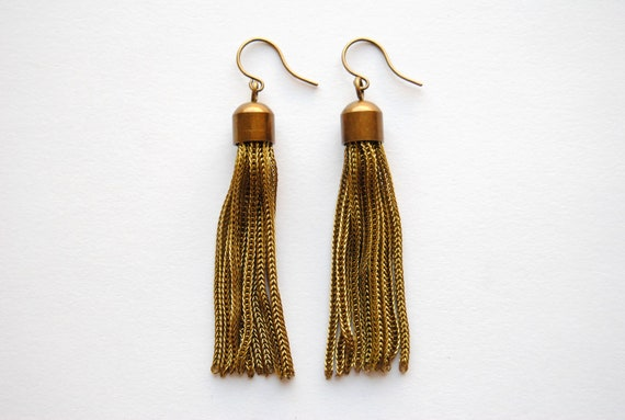 Vintage Gold Tassel Earrings - Handmade Jewelry - Free Shipping in the US