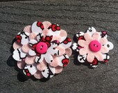 Hello Kitty Cat Big Sister Little Sister Flower Set of 2 Fabric Felt Appliques for Hair Clips or Scrapbooking