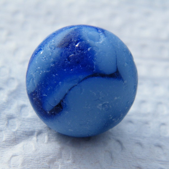 Solid Blue Glass Marble with blue swirl  Beachcombed Seaglass from Nova Scotia