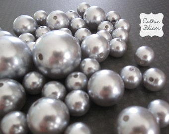 Pearls - Silver Gray Mix - For Embellishing - 42 pearls 30mm 20mm 14mm