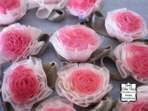 Pink Ombre Ribbon Flowers - 12 pcs. Scrapbooking Embellishment - Baby Shower Favors