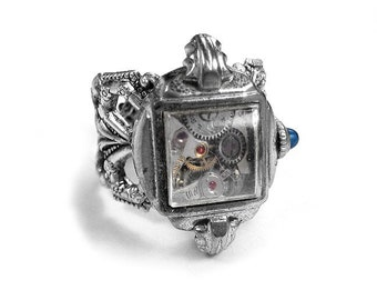 Steampunk Jewelry Ring Vintage Watch Case Movement Sapphire Mothers Day, Wedding Anniversary Fiancee Gift STUNNING - Jewelry by edmdesigns