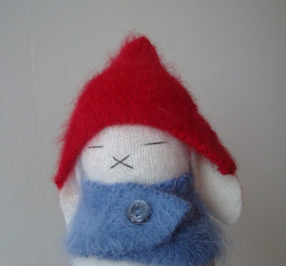 White Cream Bunny with Red Gnome Cap and Dusty Blue Sweater Cape