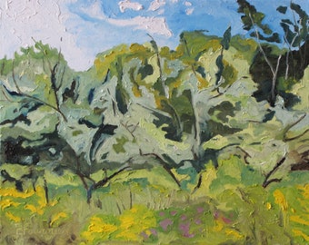 "Art Original Oil Painting Plein Air Landscape Impressionist Abstract Apple Tree Quebec Canada Green  Fournier ""The Wild Orchard "" 16 x 20"