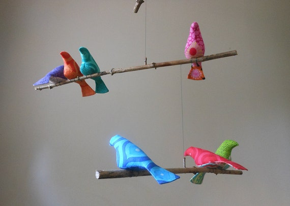 Whimsical Bird Mobile - 9 Finch Size Fabric Birds on Natural Tree Branches